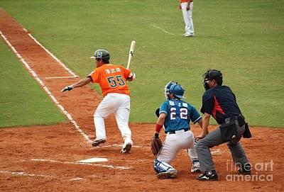 Professional Baseball Game In Taiwan Art Print by Yali Shi