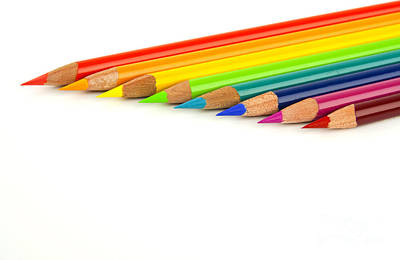 Colored Background Photograph - Rainbow Colored Pencils by Blink Images