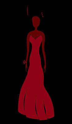Evening Dress Drawing - Red Dress by Frank Tschakert