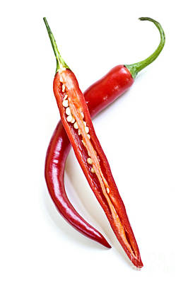 Food And Beverage Royalty-Free and Rights-Managed Images - Red hot chili peppers by Elena Elisseeva
