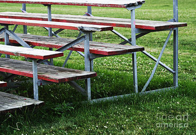 Bleachers Photograph - Red Wooden Bench by Blink Images
