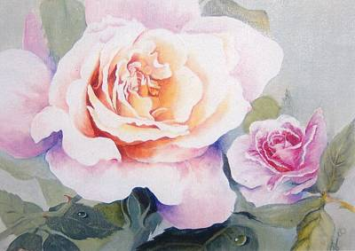 Roses And Waterdroplets Art Print
