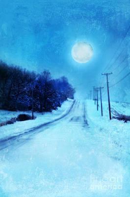 Snowy Night Photograph - Rural Road In Winter by Jill Battaglia