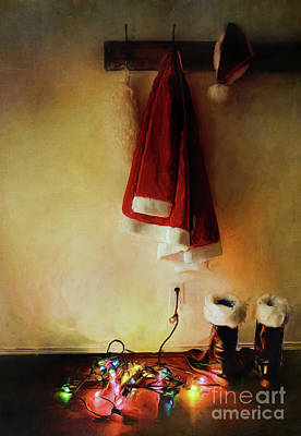 Santa Costume Hanging On Coat Hook /digital Painting  Art Print by Sandra Cunningham