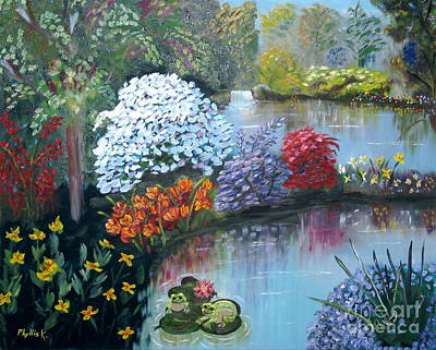 Lilly Pond Painting - Secret Garden by Phyllis Kaltenbach