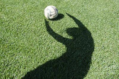 The Circle Game Photograph - Shadow Playing Football by Mats Silvan