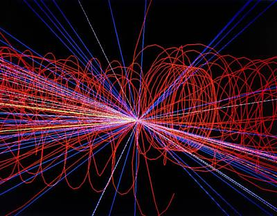 Particle Track Photograph - Simulation Of Higgs Boson Production by David Parker