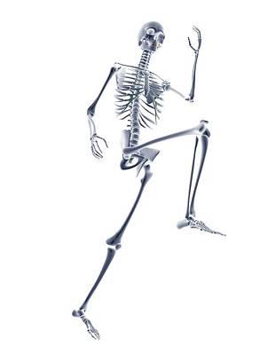 Skeleton Running Art Print by Pasieka