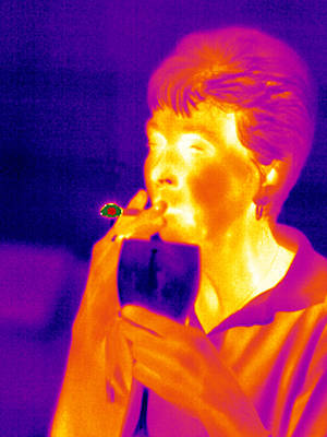 Smoking And Drinking, Thermogram Art Print