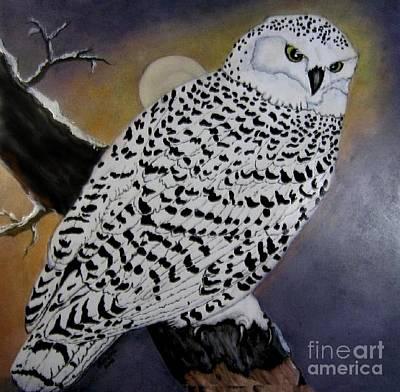 Snowy Owl And Moon Art Print by Sandra Maddox