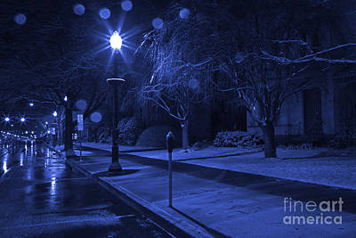 Photograph - Snowy Sidewalk Street Lamp Blues by John Stephens