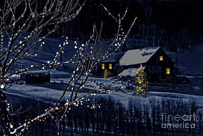 Snowy Winter Scene Of A Cabin In Distance  Art Print by Sandra Cunningham