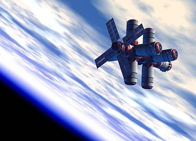 Space Hotel, Artwork Art Print by Victor Habbick Visions
