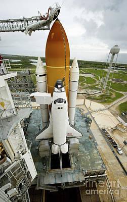 Space Shuttle Atlantis On The Launch Art Print by Stocktrek Images