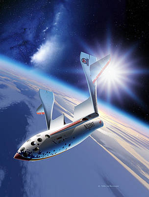 Galactic Alignment Photograph - Spaceshipone Re-entry by Detlev Van Ravenswaay
