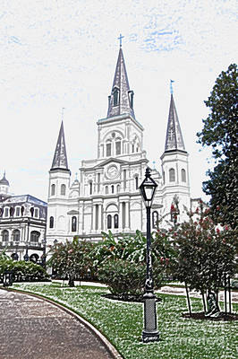 Historic Site Digital Art - St Louis Cathedral Jackson Square French Quarter New Orleans Colored Pencil Digital Art  by Shawn O'Brien