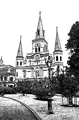 New Orleans Digital Art - St Louis Cathedral Jackson Square French Quarter New Orleans Stamp Digital Art  by Shawn O'Brien