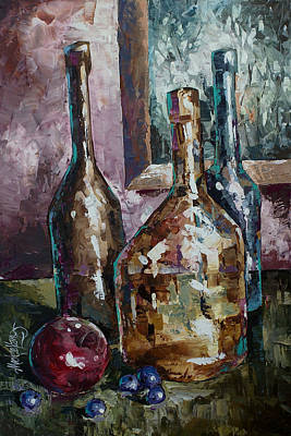 Wine-bottle Painting - Still Life by Michael Lang