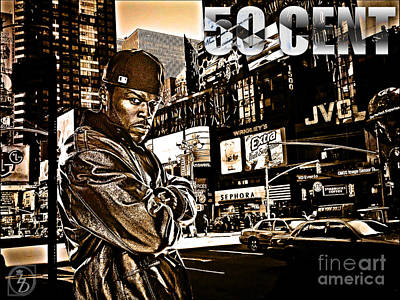 Times Square Mixed Media - Street Phenomenon 50 Cent by The DigArtisT