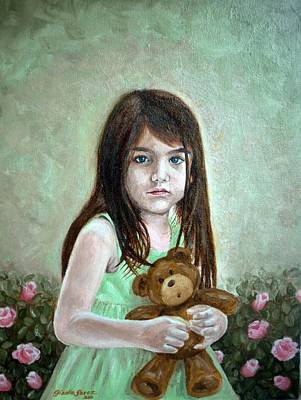 Child With Teddy Bear Painting - Suri by Gizelle Perez