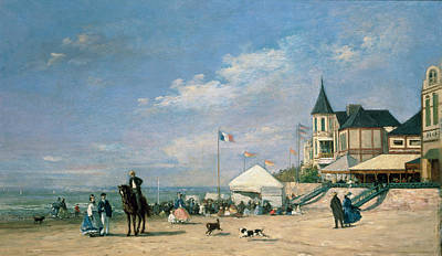 Flagpole Painting - The Beach At Trouville by Eugene Louis Boudin