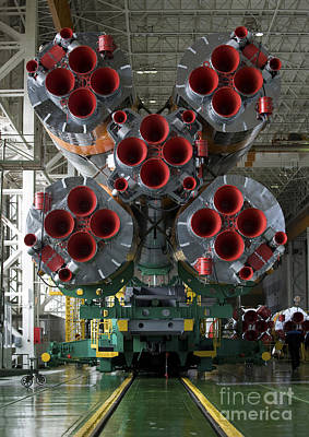The Boosters Of The Soyuz Tma-14 Print by Stocktrek Images
