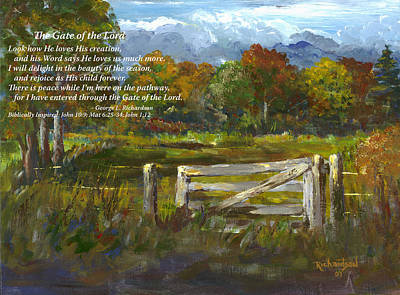 The Gate Of The Lord With Poem Art Print by George Richardson
