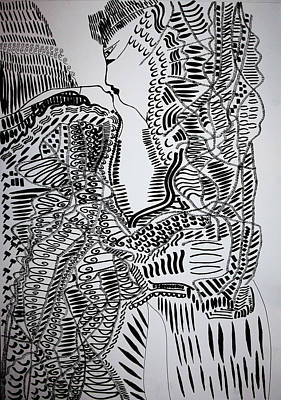 Drawing - The Kiss by Gloria Ssali