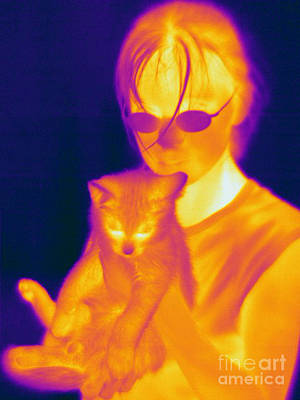 Thermographic Photograph - Thermogram Of A Girl And Cat by Ted Kinsman