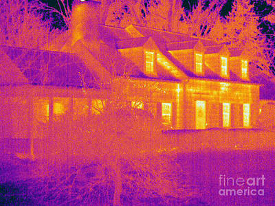 Thermographic Photograph - Thermogram Of A House by Ted Kinsman