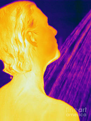 Thermographic Photograph - Thermogram Of A Woman In A Shower by Ted Kinsman