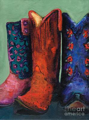 Cowgirl Boots Painting - Threes Company by Frances Marino