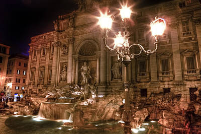 Water Fountain Photograph - Trevi Fountain At Night by Joana Kruse