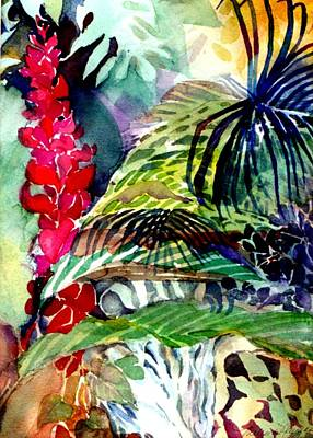 Rain Drawing - Tropical Waterfall by Mindy Newman
