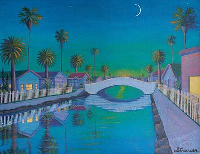 Painting - Twilight On Retro Canal by Frank Strasser