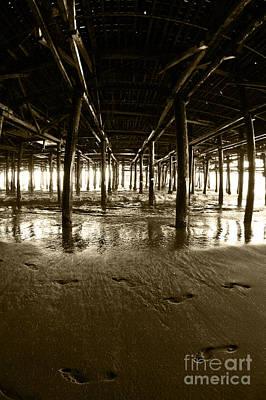 Wood Pylons Photograph - Under The Santa Monica Pier by Micah May