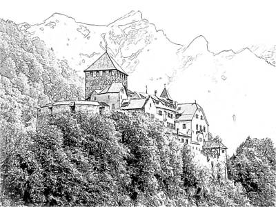 Swiss Alps Drawing - Vaduz Castle Vaduz Lichtenstein by Joseph Hendrix