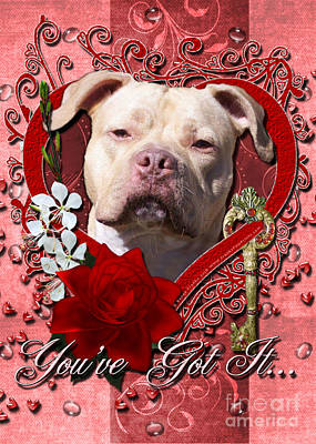 Valentines - Key To My Heart Pitbull Print by Renae Laughner