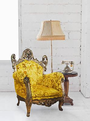 Victorian Sofa In White Room Print by Setsiri Silapasuwanchai