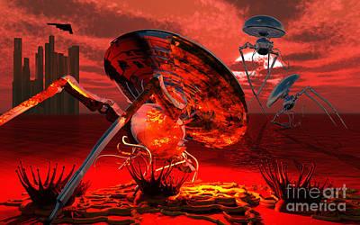 Destruction Digital Art - War Of The Worlds by Mark Stevenson