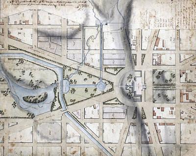 Washington, D.c. Map Showing Art Print by Everett