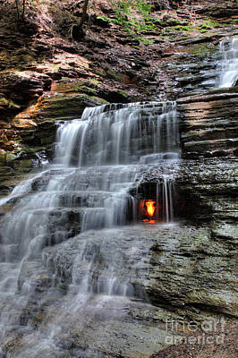 Waterfall And Natural Gas Art Print by Ted Kinsman