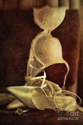 Wedding Shoes And Under Garments On Chair Art Print by Sandra Cunningham