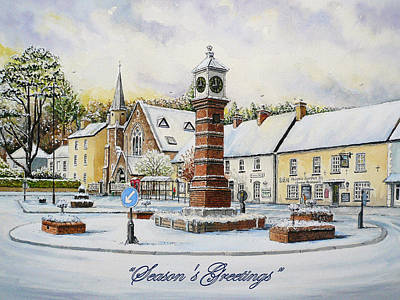 Snow Scenes Drawing - Winter In Twyn Square by Andrew Read