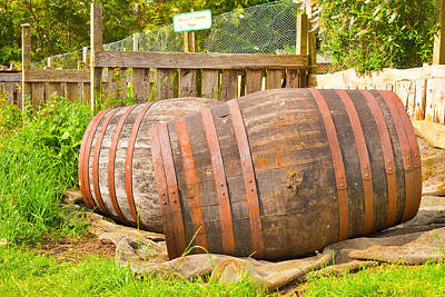 Beer Royalty-Free and Rights-Managed Images - Wooden barrels by Tom Gowanlock