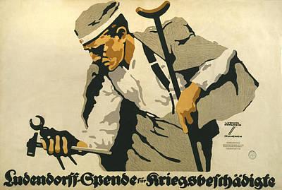 World War I, German Poster Shows Art Print by Everett