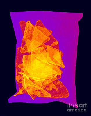Photograph - X-ray Of A Bag Of Corn Chips by Ted Kinsman