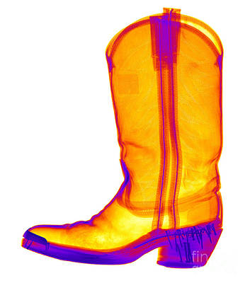 X-ray Of A Cowboy Boot Print by Ted Kinsman