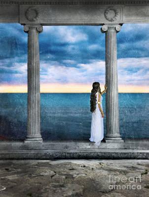 Young Woman As A Classical Woman Of Ancient Egypt Rome Or Greece Art Print by Jill Battaglia