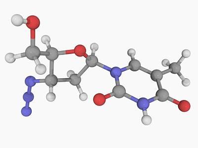 Healthcare And Medicine Digital Art - Zidovudine Drug Molecule by Laguna Design